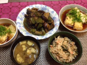 鮭ときのこの炊き込み・揚げ出し豆腐 (2)